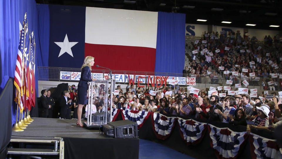 Sen. Wendy Davis, D-Fort Worth, speaks to supporter at a rally Thursday, Oct. 3, 2013, in Haltom City, Texas. Davis formally announced her campaign to run for Texas governor (AP Photo/LM Otero)