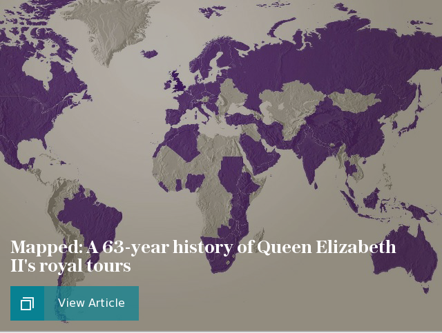 Mapped: A 63-year history of Queen Elizabeth II's royal tours
