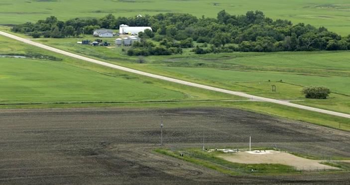 An ICBM launch site is seen located among fields and farms in the countryside outside Minot, N.D.