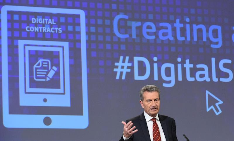 EU Digital Commissioner Gunther Oettinger has warned that Warsaw could lose its voting rights at the European Council over its controversial media law (AFP Photo/John Thys)