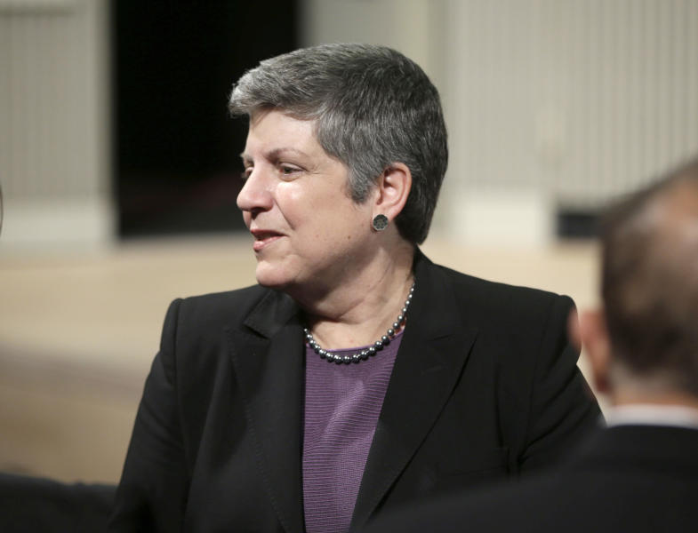 In this Nov. 25, 2013 photo, former Secretary of Homeland Security Janet Napolitano greets other guests at a DNC fundraiser at the San Francisco Jazz Center in San Francisco. Napolitano, the current President of the University of California system, is set to lead the U.S. delegation to the Sochi Games. (AP Photo/Pablo Martinez Monsivais)