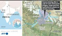 Map locating the two hydroelectric power plants buried by a torrent in India's Uttarakhand state, thought to have been caused by a chunk of glacier breaking off
