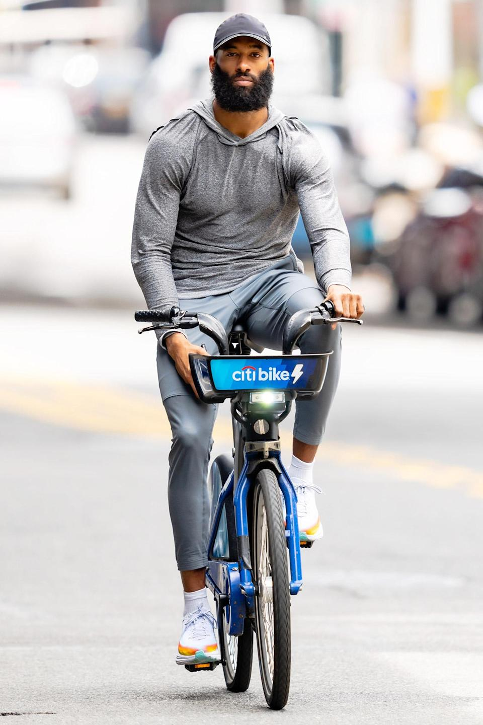 <p>Matt James takes a Citi bike for a spin around N.Y.C. on June 1.</p>