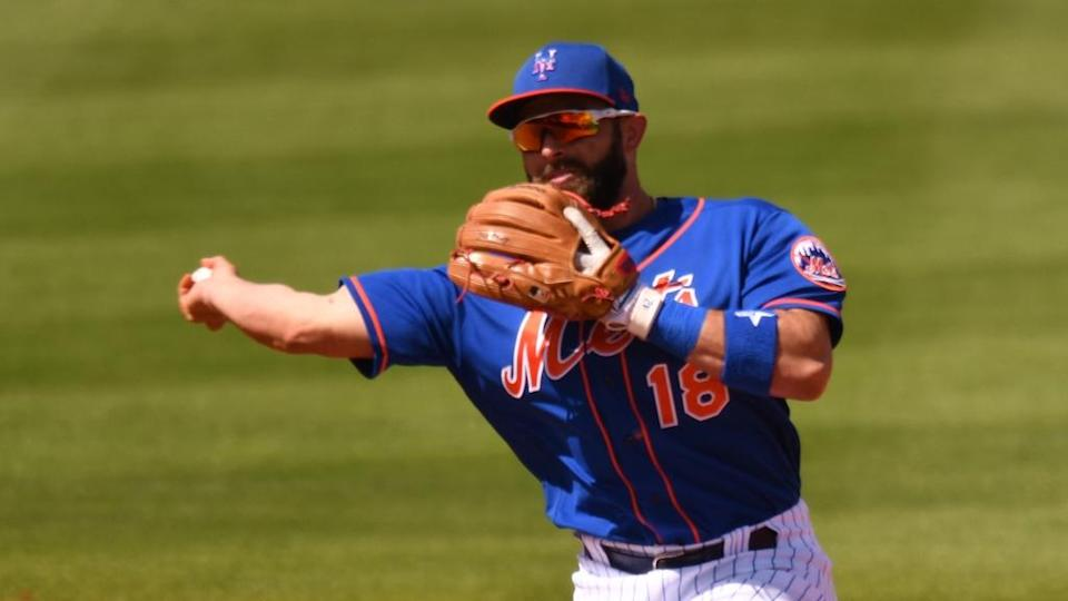Jose Peraza Mets spring training throws from second base