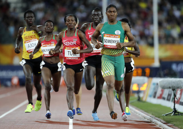 South Africa's Caster Semenya competes in the woman's 800m final at Carrara Stadium during the 2018 Commonwealth Games on the Gold Coast, Australia, Friday, April 13, 2018. (AP Photo/Mark Schiefelbein)