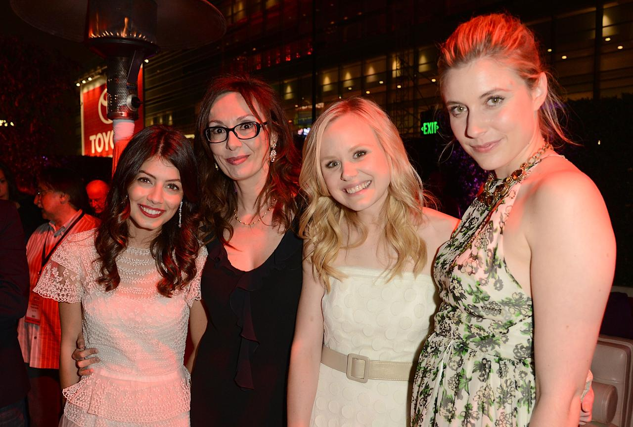LOS ANGELES, CA - JUNE 14:  (L-R) Actress Alessandra Mastroianni, Simona Caparrini, Alison Pill, and Greta Gerwig attend the 2012 Los Angeles Film Festival premiere of 'To Rome With Love' at Regal Cinemas L.A. LIVE Stadium 14 on June 14, 2012 in Los Angeles, California.  (Photo by Jason Merritt/Getty Images)