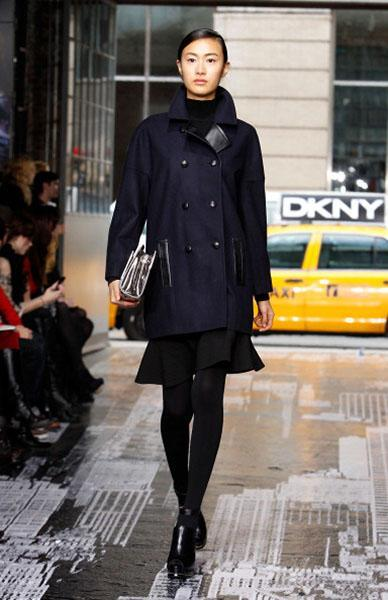 """<div class=""""caption-credit""""> Photo by: Mark Von Holden/Getty Images</div><b>DKNY</b> <br> Instead of a black peacoat, try a navy one with luxe black leather accents. <br> <br>"""