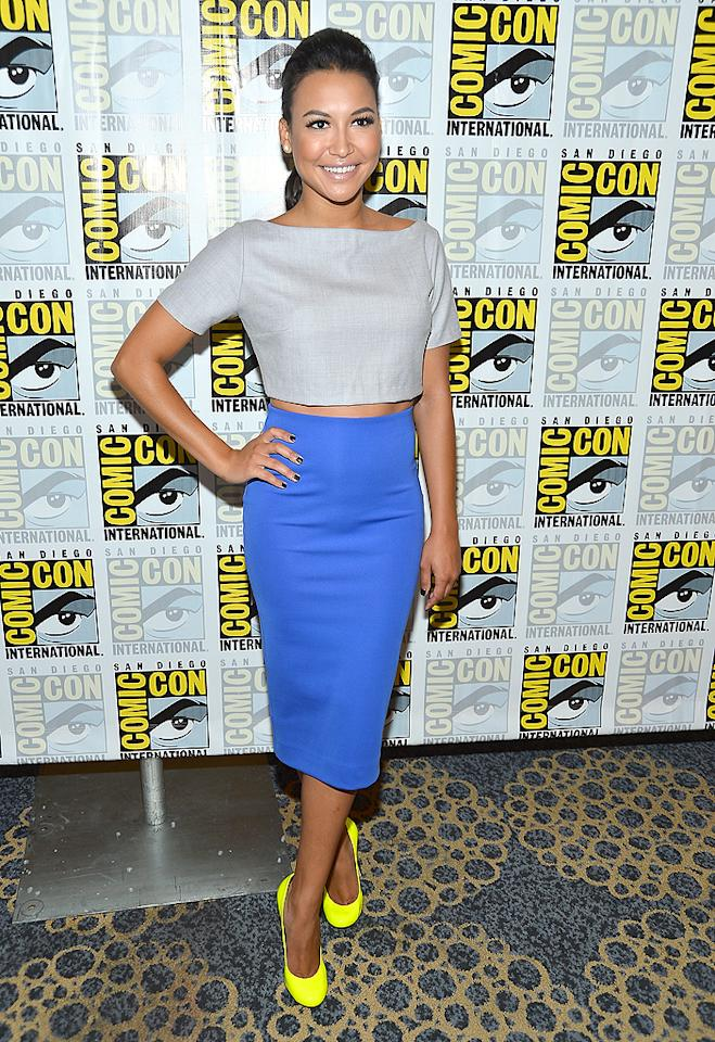 """But, if forced to choose, we'd have to say Naya Rivera was the best-dressed woman at the San Diego-set extravaganza. For the """"Glee"""" panel, she paired a gray Razan Alazzouni crop-top with an electric-blue skirt from H&M. On her footsies ... a fierce pair of neon-yellow Giuseppe Zanotti pumps. Ridiculously cute, right? (7/14/2012)"""