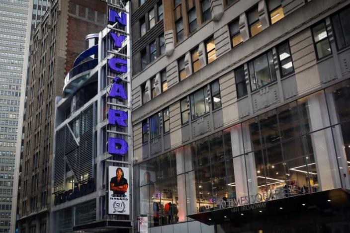 Fashion executive and designer Peter Nygard's headquarters and flagship store are seen near Times Square in New York