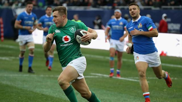 Jordan Larmour grasped his first opportunity to start for Ireland with both hands, scoring three tries and laying on another in Chicago.