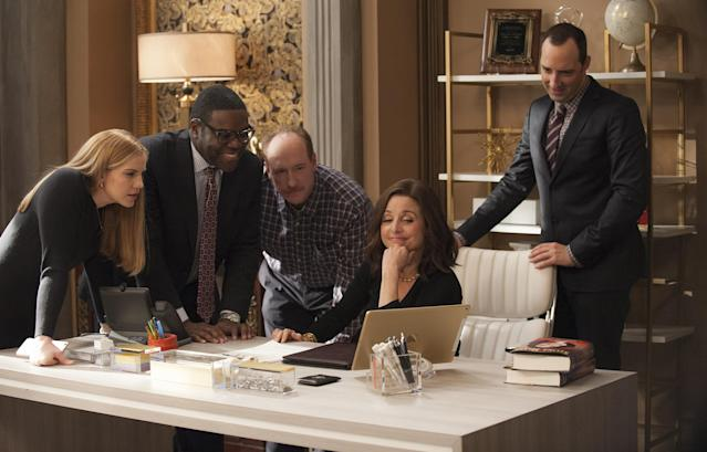 Anna Chlumsky, Richardson, Matt Walsh, Julia Louis-Dreyfus, and Tony Hale in <em>Veep</em> (Photo: Colleen Hayes/HBO)