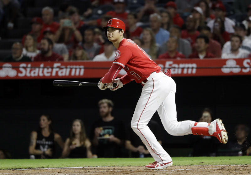 Shohei Ohtani was a pitching and hitting star for the Angels during his rookie season. (AP)