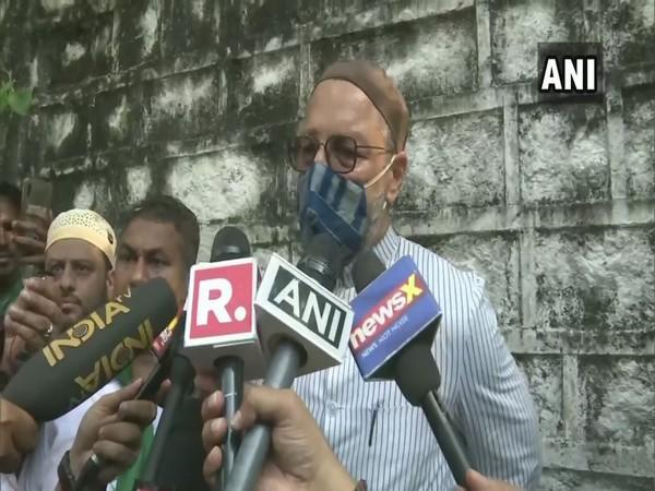 AIMIM chief Asaduddin Owaisi speaking to reporters in Hyderabad on Sunday. [Photo/ANI]