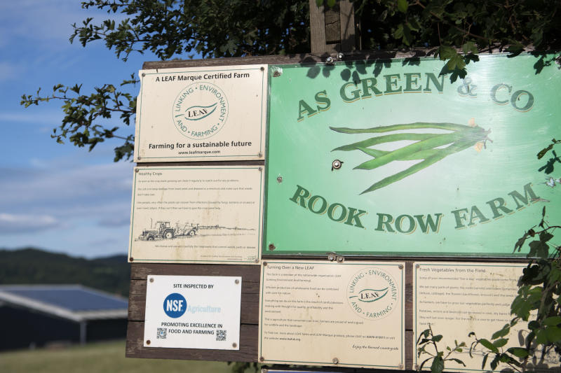 MATHON, UNITED KINGDOM - JULY 12: A close-up of a sign at the entrance to the AS Green and Co farm on July 12, 2020 in Mathon, Herefordshire. AS Green and Co, based in Mathon near Malvern, has said 73 of its 200 employees have COVID-19 following an outbreak there. Workers are being asked to isolate on the farm and stay within household groups to reduce the risk of spreading the virus within the workforce. (Photo by Matthew Horwood/Getty Images)