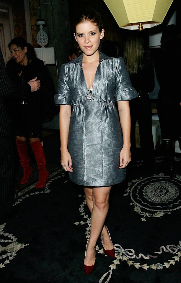 """Kate Mara spices up her ice blue dress with a pair of pointy red heels. Donato Sardella/<a href=""""http://www.wireimage.com"""" target=""""new"""">WireImage.com</a> - October 17, 2007"""