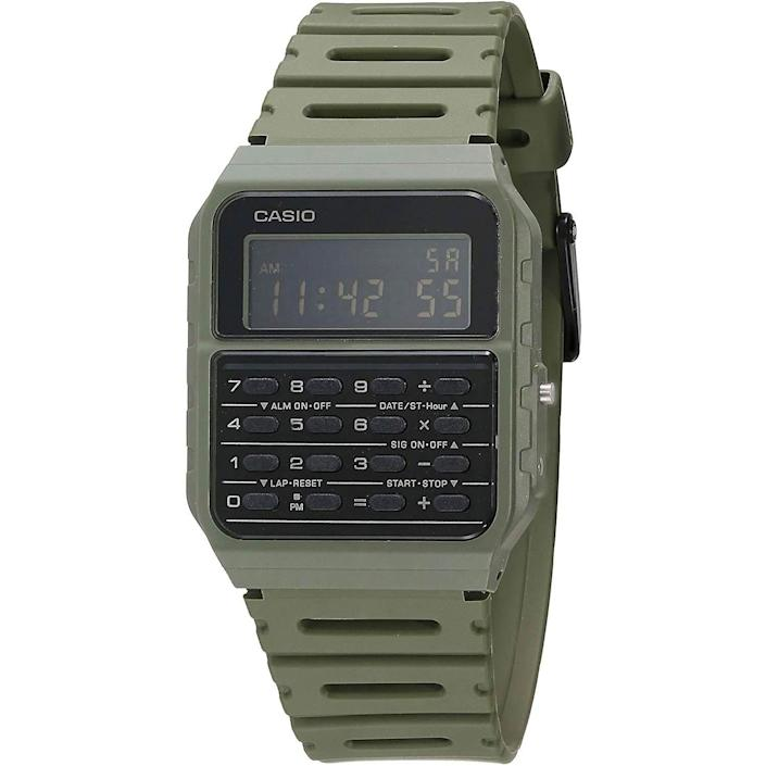 """<p><strong>Casio</strong></p><p>amazon.com</p><p><strong>$24.90</strong></p><p><a href=""""https://www.amazon.com/dp/B083VY2YQM?tag=syn-yahoo-20&ascsubtag=%5Bartid%7C10054.g.35351418%5Bsrc%7Cyahoo-us"""" rel=""""nofollow noopener"""" target=""""_blank"""" data-ylk=""""slk:Shop Now"""" class=""""link rapid-noclick-resp"""">Shop Now</a></p><p>Tired: using the calculator on your phone. Wired: using the calculator on your <em>watch</em>.</p>"""