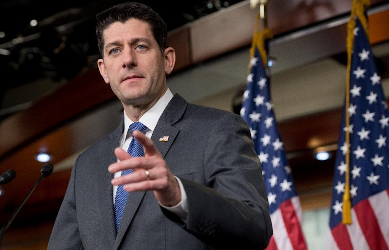 Republican Speaker Paul Ryan pushed the spending bill through the House of Representatives -- it's now with the Senate (AFP Photo/SAUL LOEB)