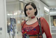 <p>Kat is back, and this time she's red-hot. When Kat finds her confidence at the mall, it is a scene that everyone was <em>so</em> there for. Her bold strut and DGAF mood gives her a too-hot-to-handle aura that she totally rocks. If she was uncomfortable in her daring outfit, it sure didn't show. Collars, harnesses, and mesh shirts are the motto here.</p> <p><strong>What to wear</strong>: A mesh graphic long-sleeve shirt with a belted harness and fiery red collar necklace will turn you into the iconic Kat. Along with red pants and big bad combat boots, you'll be sure to feel just as confident as this character.</p>