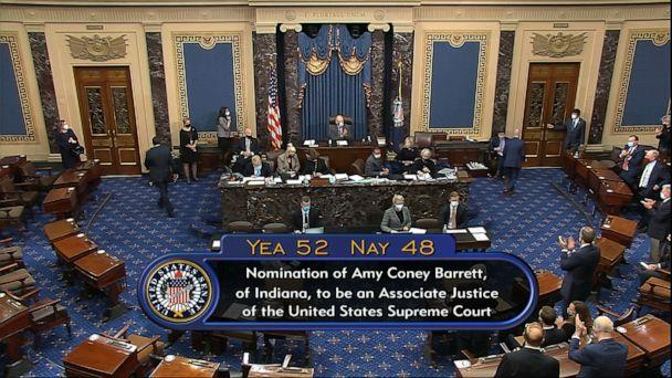 PHOTO: In this image from video, the vote total in the Senate on the confirmation of Amy Coney Barrett to become a Supreme Court justice at the Capitol, Oct. 26, 2020.  (Senate Television via AP)