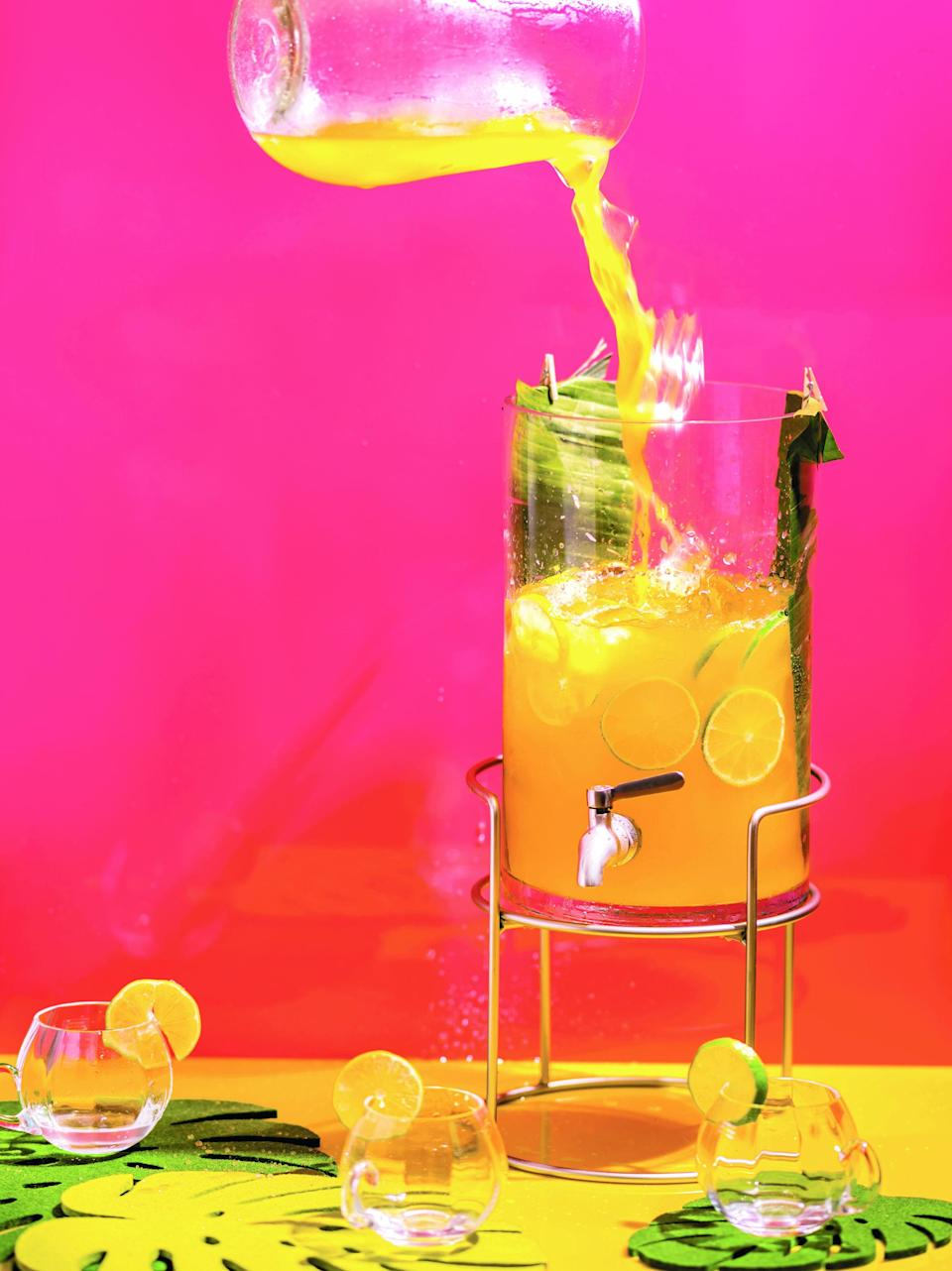 """This easy rum punch from bartender Shannon Mustipher's book <a href=""""https://www.epicurious.com/cookbooks/tiki-modern-tropical-cocktails-shannon-mustipher?mbid=synd_yahoo_rss"""" rel=""""nofollow noopener"""" target=""""_blank"""" data-ylk=""""slk:Tiki: Modern Tropical Cocktails"""" class=""""link rapid-noclick-resp""""><em>Tiki: Modern Tropical Cocktails</em></a> gets its layers of flavor from pot still rum, Earl Grey tea (which has hints of bergamot), plus fresh grapefruit and a quick pineapple syrup. <a href=""""https://www.epicurious.com/recipes/food/views/royal-dock-cooler-rum-punch?mbid=synd_yahoo_rss"""" rel=""""nofollow noopener"""" target=""""_blank"""" data-ylk=""""slk:See recipe."""" class=""""link rapid-noclick-resp"""">See recipe.</a>"""