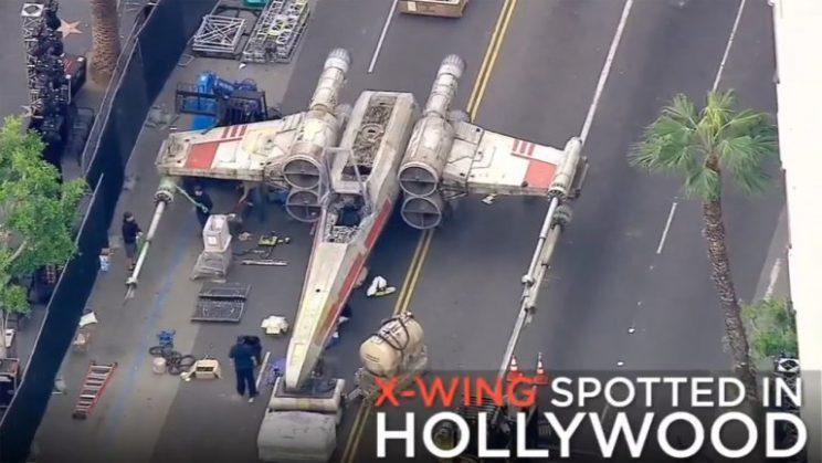 X-Wing parked on Hollywood Boulevard for 'Rogue One' premiere. (Courtesy of ABC7)