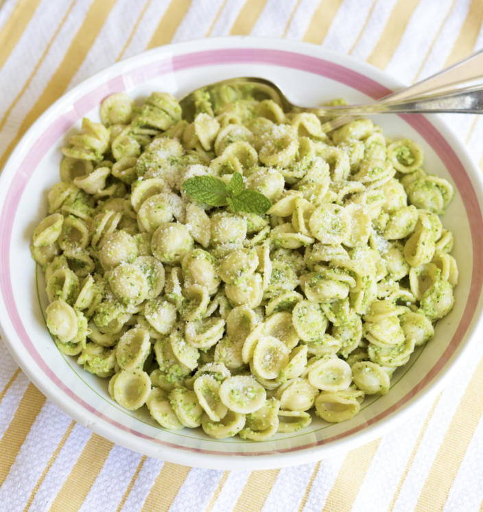 """<p>This dish is a posh pasta pesto, where the fusilli is replaced by orecchiette and you blitz your own pesto using cooked broad beans, walnuts, parmesan and mint instead of basil. Bring it to work the next day and serve hot or cold. Full recipe is available in <a href=""""http://www.amazon.com/Lemon-Salt-Modern-Culinary-Revelry/dp/0692372857/ref=sr_1_1?ie=UTF8&qid=1458141598&sr=8-1&keywords=ashton+keefe"""" rel=""""nofollow noopener"""" target=""""_blank"""" data-ylk=""""slk:Lemon & Salt: A Modern Girl's Guide to Culinary Revelry"""" class=""""link rapid-noclick-resp"""">Lemon & Salt: A Modern Girl's Guide to Culinary Revelry</a>. <i>[Photo: Ashton Keefe]</i></p>"""