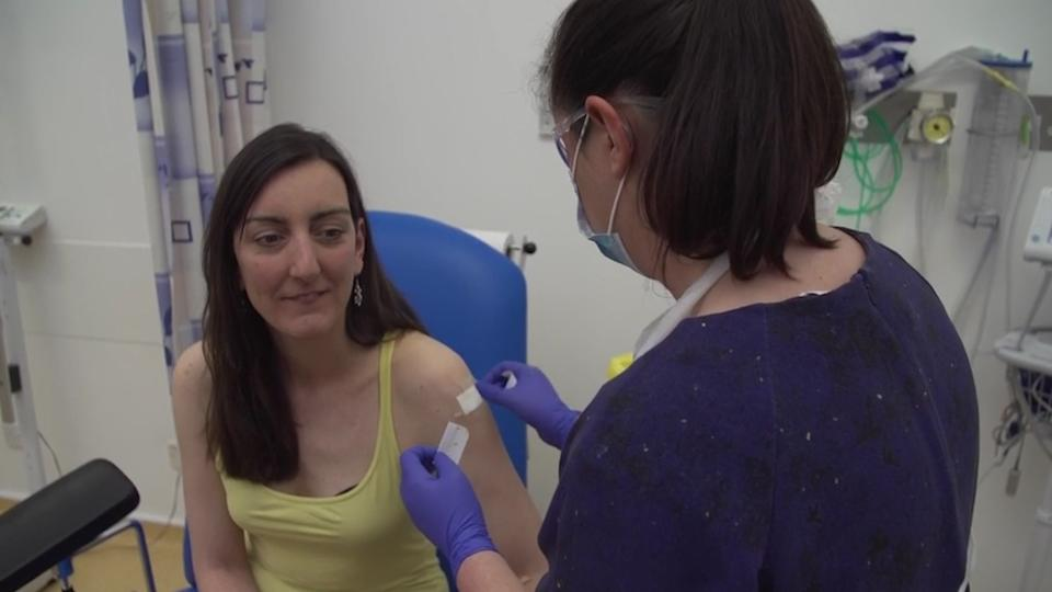 """File photo dated 23/4/2020 of microbiologist Elisa Granato being injected as part of human trials in the UK for a coronavirus vaccine as Oxford University vaccine trial for Coronavirus begins. One of the first people to be injected as part of UK human trials for a coronavirus vaccine has said she is """"doing fine"""", after a fake article about her death was circulated on social media."""