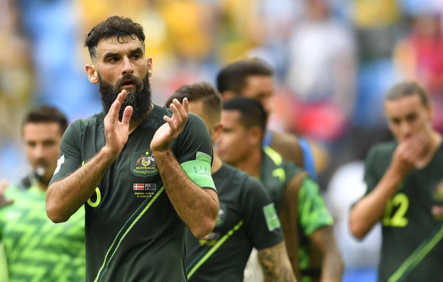 Australia's Mile Jedinak leaves the pitch after a draw in the group C match between Denmark and Australia at the 2018 soccer World Cup in the Samara Arena in Samara, Russia, Thursday, June 21, 2018. (AP Photo/Martin Meissner)