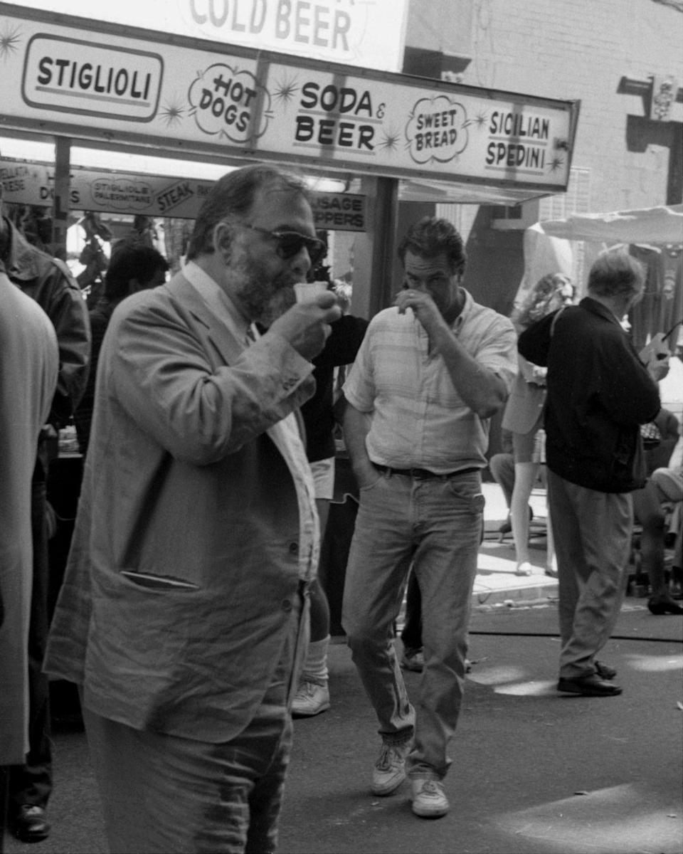 <p>Coppola cools off with an Italian ice during a summer shoot in New York City. </p>