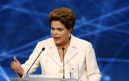 Presidential candidate and Brazilian President Dilma Rousseff speaks during the first television debate in Sao Paulo