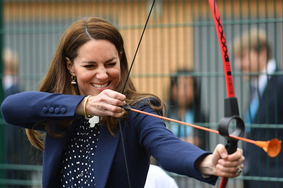 <p>The Duchess of Cambridge took an archery lesson while visiting The Way Youth Zone in Wolverton, UK. She and Prince William participated in a few sports at the organization, which helps youth mental health and wellbeing. </p>