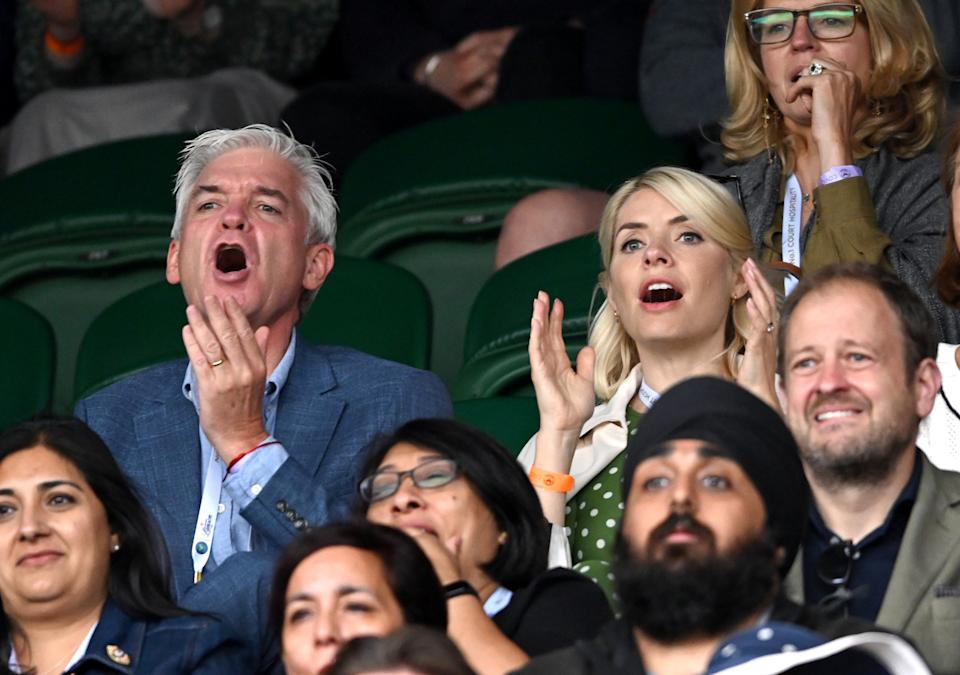LONDON, ENGLAND - JULY 05: Phillip Schofield and Holly Willoughby attend day 7 of the Wimbledon Tennis Championships at the All England Lawn Tennis and Croquet Club on July 05, 2021 in London, England. (Photo by Karwai Tang/WireImage)