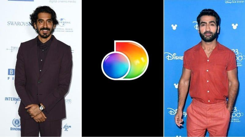 Three hunks: Dev Patel (Gareth Cattermole/Getty Images), The Discovery+ logo (Discovery+), Kumail Nanjiani (Frazer Harrison/Getty Images)
