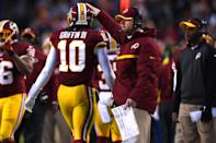 <p>The Redskins traded a boatload of picks to move up and draft Griffin second overall in 2012, and at first it looked like a genius move. Griffin was electric in his first NFL season, winning Offensive Rookie of the Year and a Pro Bowl nod. But a serious knee injury ended his season in the playoffs and he never returned to his incredible rookie form. By the start of the 2015 season, Washington coach Jay Gruden was publicly criticizing Griffin and reports were surfacing that the team was trying to trade him. In the end, the quarterback was benched that year and cut after the season. </p>
