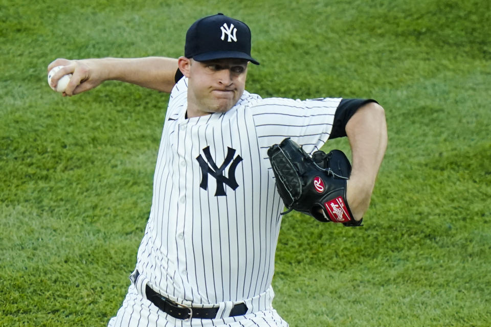 New York Yankees' Michael King delivers a pitch during the first inning of a baseball game against the Boston Red Sox,Friday, June 4, 2021, in New York. (AP Photo/Frank Franklin II)