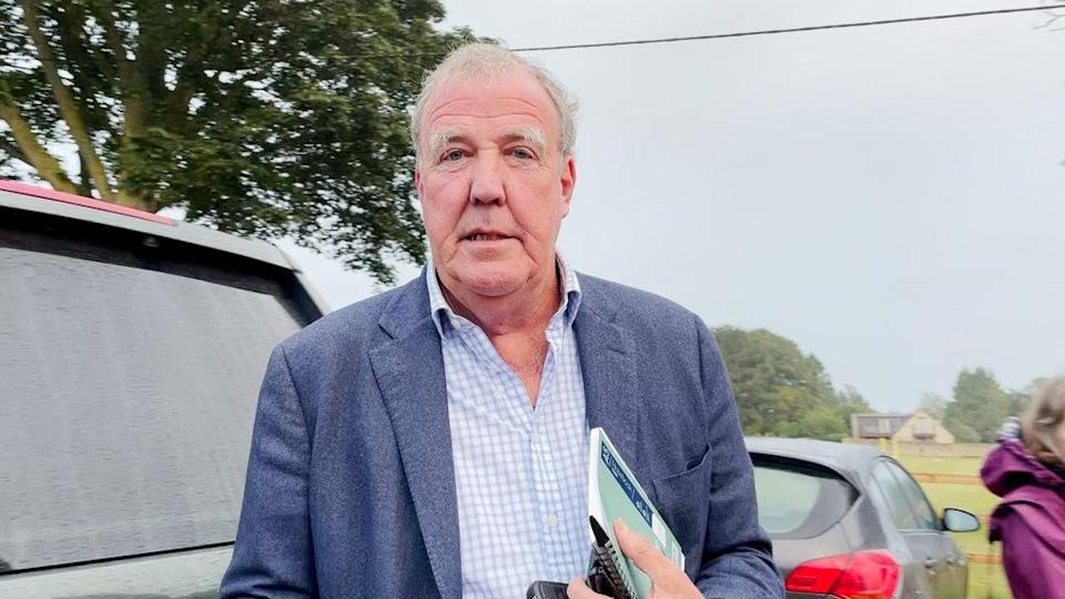 Jeremy Clarkson at the Memorial Hall in Chadlington, where he held a meeting with local residents over concerns about his Oxfordshire farm shop (PA Video) (PA Wire)