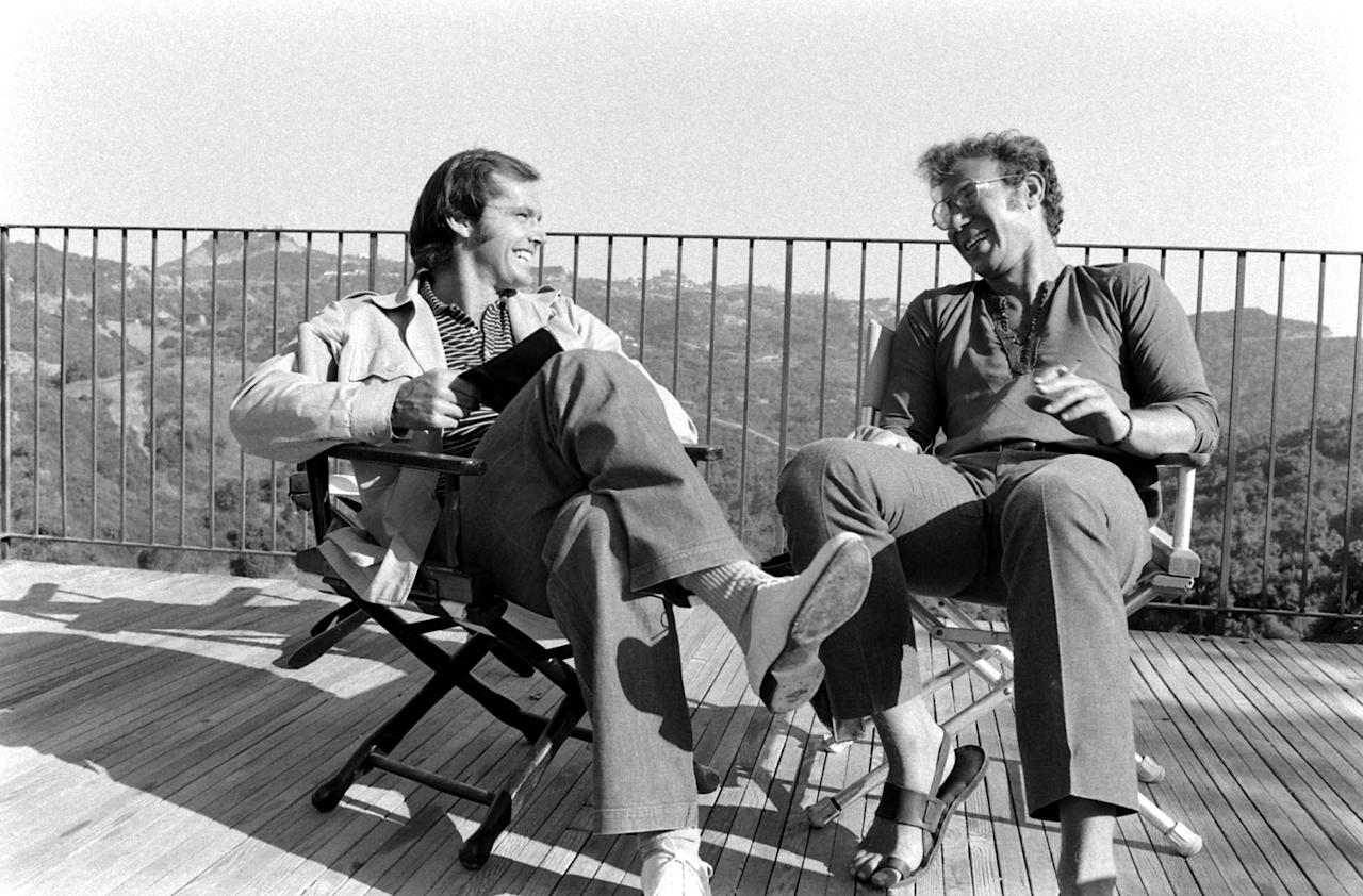 Not published in LIFE. Jack Nicholson and director Bob Rafelson chat on the deck of Nicholson's home, Los Angeles, 1969.