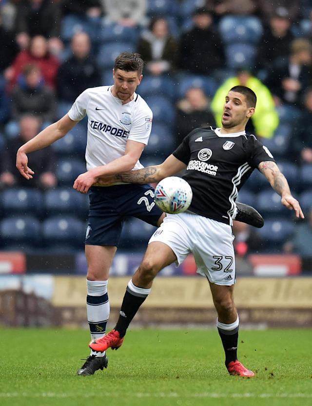 "Soccer Football - Championship - Preston North End vs Fulham - Deepdale, Preston, Britain - March 10, 2018 Preston's Paul Huntington in action with Fulham's Aleksandar Mitrovic Action Images/Paul Burrows EDITORIAL USE ONLY. No use with unauthorized audio, video, data, fixture lists, club/league logos or ""live"" services. Online in-match use limited to 75 images, no video emulation. No use in betting, games or single club/league/player publications. Please contact your account representative for further details."