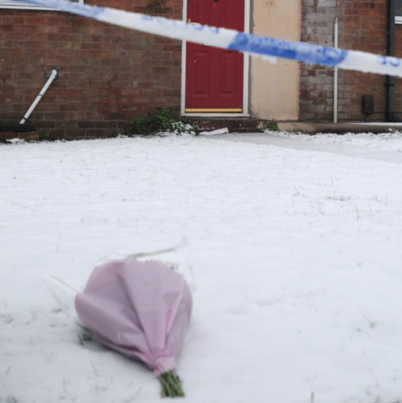 <strong>A floral tribute left at the crime scene</strong> (Matthew Cooper/PA)