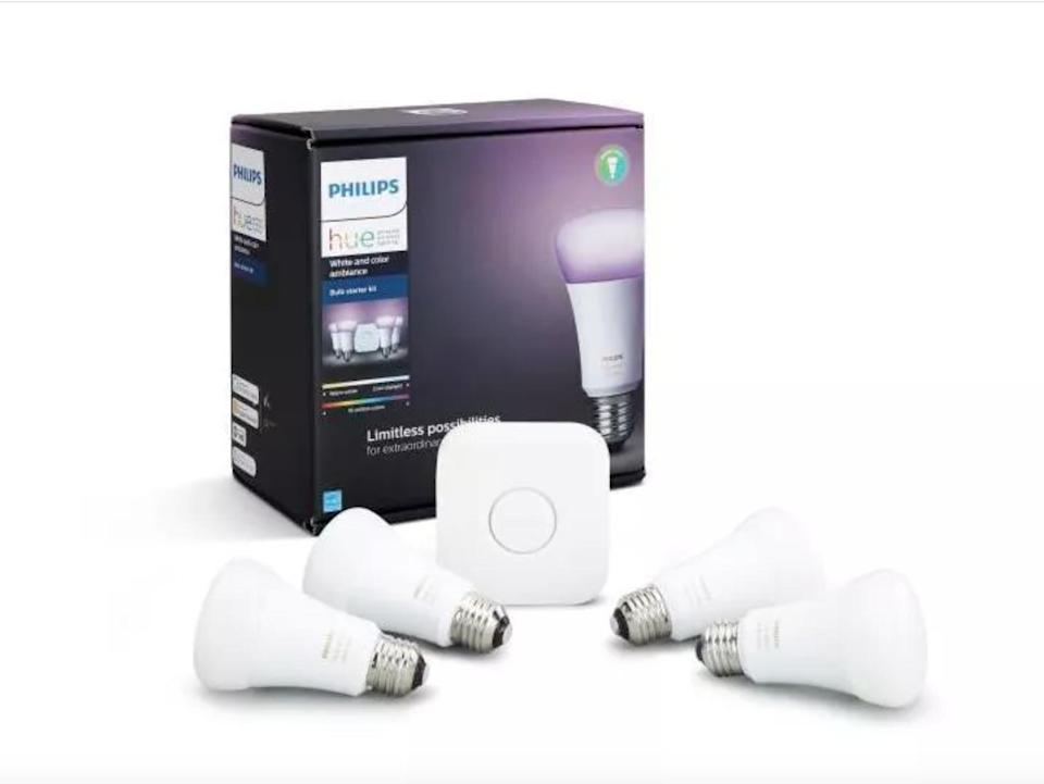 <p>Give your at-home studio the ultimate makeover with the <span>Philips Hue White and Color Ambiance A19 LED Smart Bulb Starter Kit</span> ($200). These color-changing bulbs will transform any room to the ambience of your liking.</p>