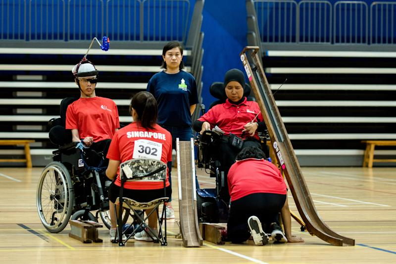 Nurulasyiqah Mohammad Taha (right) clinched gold in the BC3 individual category at the National Boccia Championships, beating Toh Sze Ning 8-0 in the final. (PHOTO: Singapore Disability Sports Council)