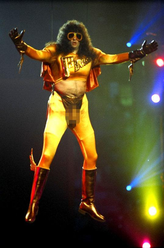 <p>Plenty of people have accused Howard Stern of being full of hot air, so it made total sense when the shock jock descended upon the 1992 VMAs audience as his not-so-superhero alter ego, Fartman, in a buttocks-baring, prosthetically enhanced unitard. This hilarious stunt no doubt inspired Sacha Baron Cohen's <em>Bruno</em> stunt at the MTV Movie Awards in 2009. </p>
