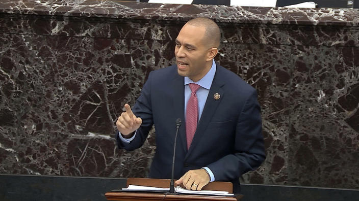 House impeachment manager Rep. Hakeem Jeffries, D-N.Y., during closing arguments in the impeachment trial on Monday. (Senate Television via AP)