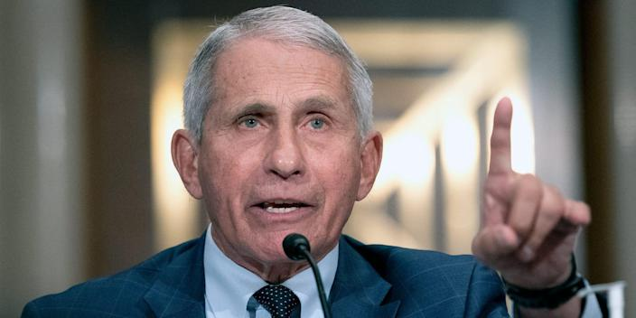 Dr. Anthony Fauci, director of the National Institute of Allergy and Infectious Diseases, testifies before the Senate Health, Education, Labor, and Pensions Committee at the Dirksen Senate Office Building in Washington on Tuesday, July 20, 2021.