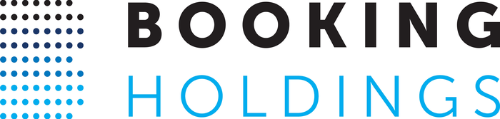Booking Holdings logo in black and blue with capital B made of pixels.