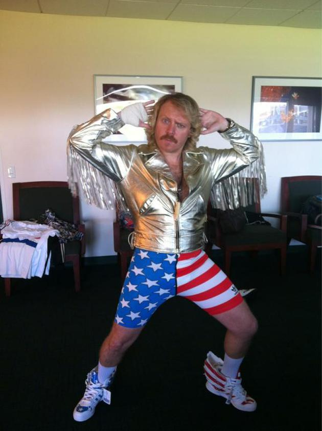 Celebrity photos: Keith Lemon posed for this Twitpic earlier in the week, dressed in American flag shorts and a gold jacket. Standard.