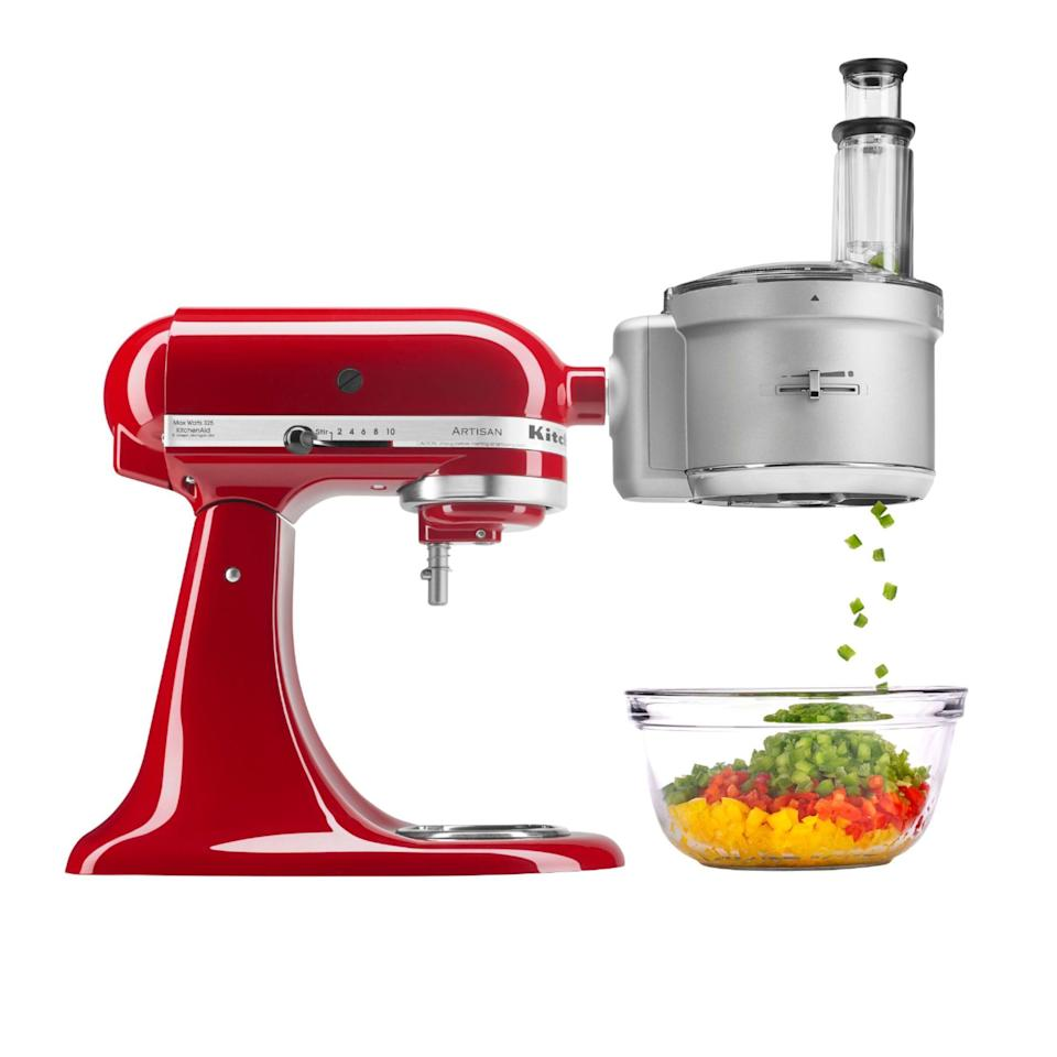 "<p><strong>KitchenAid</strong></p><p>bestbuy.com</p><p><strong>$199.99</strong></p><p><a href=""https://go.redirectingat.com?id=74968X1596630&url=https%3A%2F%2Fwww.bestbuy.com%2Fsite%2Fkitchenaid-ksm2fpa-food-processor-attachment-kit-silver%2F8125016.p%3FskuId%3D8125016&sref=https%3A%2F%2Fwww.goodhousekeeping.com%2Fcooking-tools%2Fg34431819%2Fbest-kitchenaid-attachments%2F"" rel=""nofollow noopener"" target=""_blank"" data-ylk=""slk:Shop Now"" class=""link rapid-noclick-resp"">Shop Now</a></p><p>This all-in one attachment comes equipped with many functionalities you'll find highlighted in other attachments. You can julienne, shred, and slice fresh ingredients, and you can also adjust the thickness of the cut before you begin. Because it's designed to replace a food processor on your countertop, it can handle proteins, too. Our tests with this processor had no issues with any kind of vegetables, but choosing to work with softer proteins (or those that have been paired down in size) yielded best results.<br></p>"