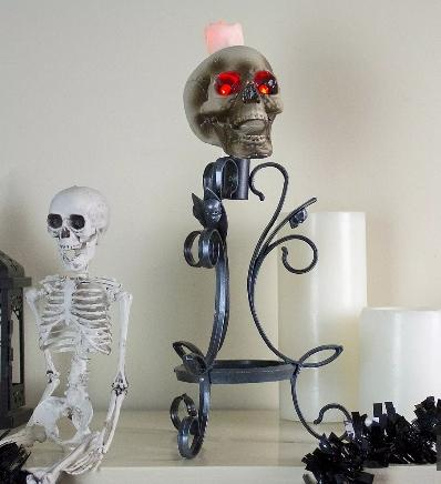Gothic Flameless Skull Halloween Candle Holder (Image via The Home Depot)