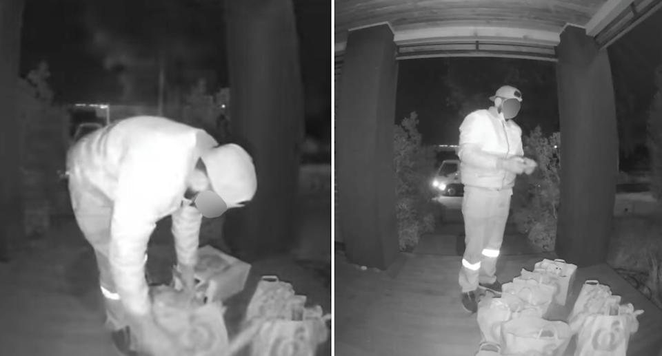 A Woolworths delivery driver caught on a doorbell camera not wearing a mask properly.