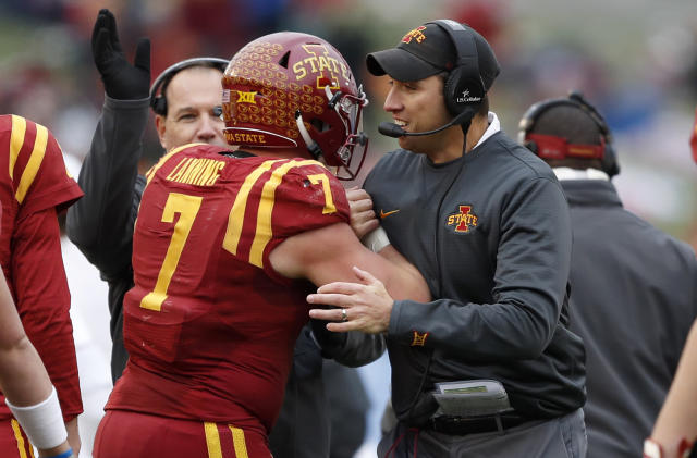 Iowa State's Joel Lanning (7) thrived after switching from quarterback to linebacker this season. (AP Photo/Charlie Neibergall)